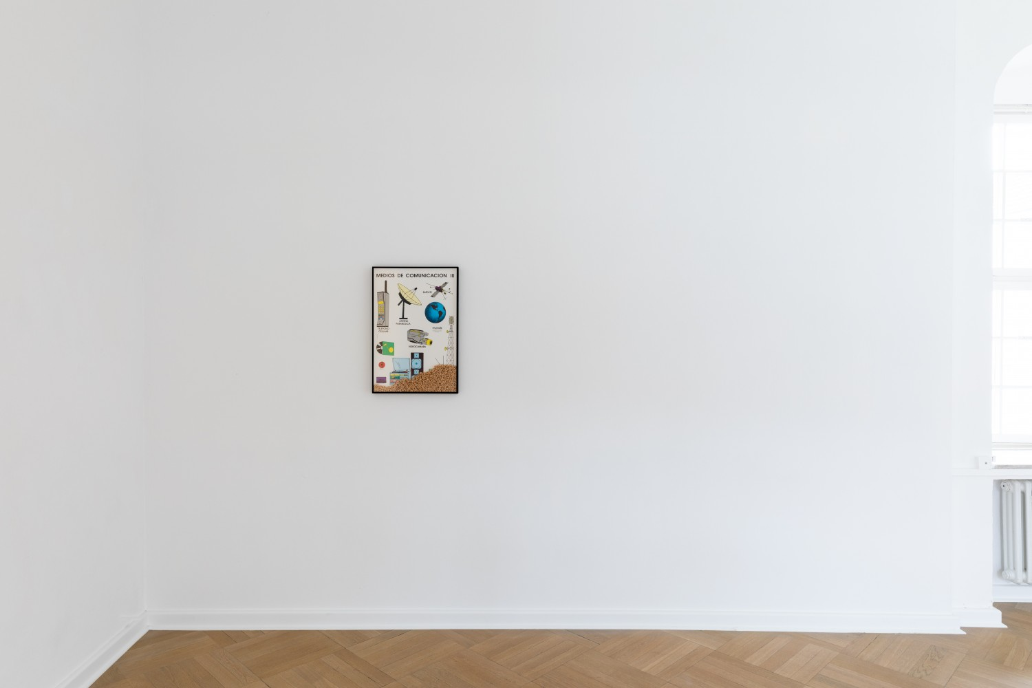 """The vintage poster entitled """"Cheerios Media"""" by Adriana Lara highlights the communications media of the pre-digital era while also questioning the conditioning we undergo at the hands of contemporary media."""
