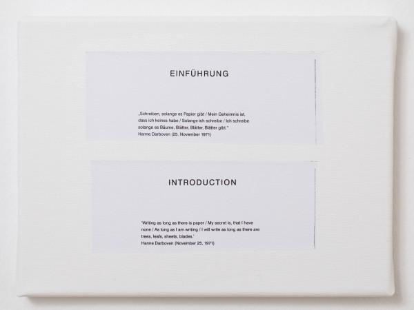 Es handelt sich um eine kleine weiße Leinwand. Darauf befinden sich zwei augeschnittene Zitate. Sie wurden von den Künstlern daraufgeklebt.