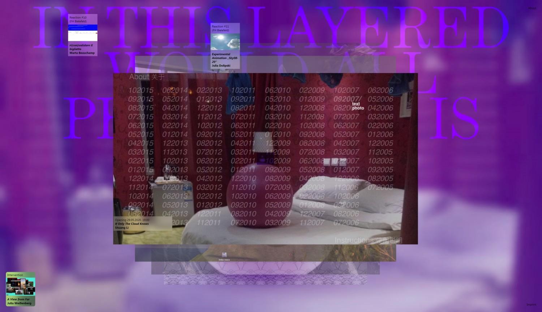 """Bildschirmaufnahme der Projektseite """"If Only The Cloud Knows"""" der Künstlerin Shuang Li. Im Jahr 2018 machte Shuang Li ihre gesamte Sammlung von Textnachrichten und Fotos aus den Jahren 2005 bis 2015 online zugänglich und löschte die Dateien aus ihrem privaten Backup-Speicher. Die Besucher*innen der Webseite sind eingeladen, Bilder oder Texte zu löschen und im Gegenzug eine Notiz an die Künstlerin zu schreiben."""